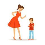 Mother character scolding her upset son vector Illustration. Isolated on a white background Royalty Free Stock Photos