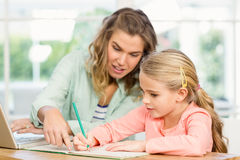 Mother checking daughters homework Stock Photography