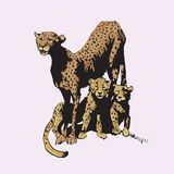 Mother cheetah with her little cubs. stock illustration