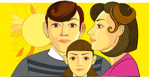 Mother and chidren. The mother's love shines as sun light vector illustration