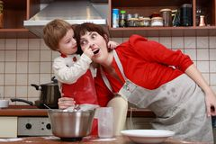 Mother and child. In the kitchen Royalty Free Stock Image