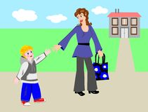 Mother and Child. Mother and son go home royalty free illustration