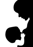 Mother and child. Silhouette of mother child on white background Royalty Free Stock Photography