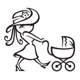 Mother and child. Monochrome illustration of mother with a child in a stroller Royalty Free Stock Photos