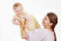 Mother with child. Mother playing with little baby Royalty Free Stock Image