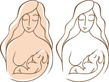 Mother and child. Mother holding her little baby. Outline drawing vector illustration