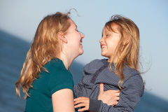 Mother and child. Happy mother with her little daughter outdoors Stock Photo
