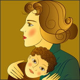 Mother and child. Mother presses the child, tenderness, love. Drawing. Vector Royalty Free Stock Images