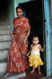 Mother & Child. June 12,2012 Kolkata,West Bengal,India,Asia-Mother with her little girl in a home at the slum area of Kolkata Royalty Free Stock Photo
