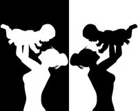 Mother and child. Black and white silhouettes of mother and child Royalty Free Stock Images