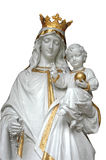 Mother & Child. Virgin Mary (Mother Mary) with Baby Jesus - isolated in white with clipping path Royalty Free Stock Photography