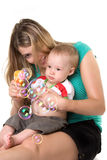 Mother with a child. Can be bubbles Stock Image
