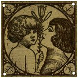 Mother and child. With lily - vintage metal decoration - grainy surface Royalty Free Stock Image