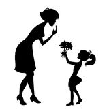 Mother with the child. Silhouette vector Royalty Free Stock Images
