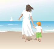 Mother_child. Mother and child at the beach Royalty Free Stock Images
