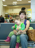Mother and  child at airport Royalty Free Stock Images