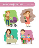 Mother and Child. Child in baby carriage and child at table, bathing the child and games Royalty Free Stock Photos