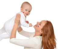 Mother and child baby kid girl with russian flag Stock Photography