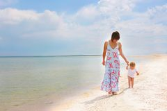 Mother and child on beach Royalty Free Stock Image