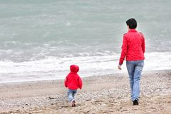 Mother and child on beach Royalty Free Stock Photo