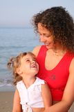 Mother with child on beach Royalty Free Stock Photo