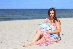 Mother and child. Mother with the child on a beach in the summer Royalty Free Stock Images
