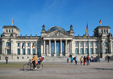 Mother and child in bike,berlin,Reichstag stock images