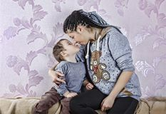 Mother, child, boy, happy, family, home, smiling, childhood, cute, stock photo