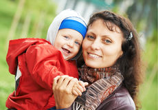 Mother and child boy outdoors Stock Image