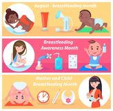 Mother and Child Breastfeeding Month in August. Mothers and their eating children, clock thermometer red cream, varied bottles open tap, soap and towel vector illustration