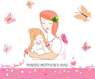 Mother and child with butterfly mother's day greeting card Royalty Free Stock Photo