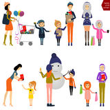 Mother with child buying Christmas / Vector / Mother and child m Royalty Free Stock Photo
