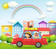 A mother and child in a car with a bird Royalty Free Stock Photography