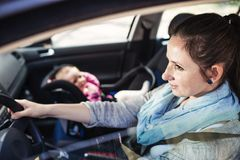 Mother and child in the car Stock Images