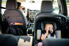 Mother and child in car Royalty Free Stock Photos