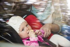 Mother and child in the car Royalty Free Stock Photo
