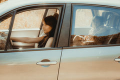 Mother and child in car. Vacation trip travel. Stock Photography