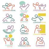 Mother and child care vector icons for parental orphan organization. Family parents and child care logo templates. Vector symbols of mother and father for Stock Illustration