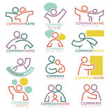 Mother and child care vector icons for parental orphan organization Stock Photos