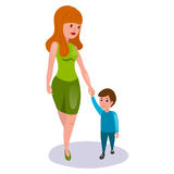 Mother and child cartoon vector illustration Royalty Free Stock Images