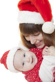 Mother and child celebrate Christmas Stock Image