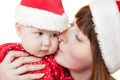 Mother and child celebrate Christmas Royalty Free Stock Photography