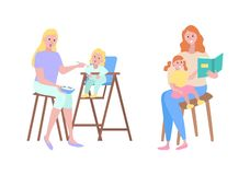 Mother and Child, Childcare Motherhood Family. Mother and kid vector, isolated woman feeding child sitting on high stool. Lady reading book to daughter, fairy stock illustration