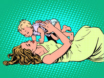 Mother child childhood motherhood happy. Pop art retro style Stock Image