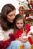 Mother with child on Christmas Stock Photo