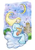 Mother and child on a cloud in the sky over the city at night. Fantasy figure, the mother sings a lullaby to his son on the clouds royalty free stock photos