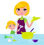 Mother with child cooking healthy food in kitchen stock illustration