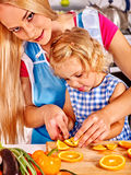 Mother and child cooking at kitchen Stock Photo