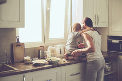 Mother with child cooking together Royalty Free Stock Photos