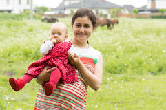 Mother with child at the country Stock Photography